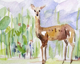 original watercolor painting ACEO deer animal  ,2.5x3.5 inches