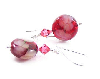 Raspberry Flower Earrings, Rose Pink Lampwork Glass & Sterling Silver Jewellery, Floral Gifts for Her