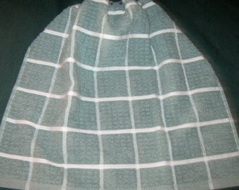 Crochet Kitchen Hanging Towel, wedgewood blue, white, blue top, Better Homes