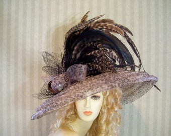 Kentucky Derby Hat, Super Wide Brim Hat, Leopard Hat, Tea Hat, Wedding Hat, Victorian Hat, Downton Abbey Hat, Halloween Hat
