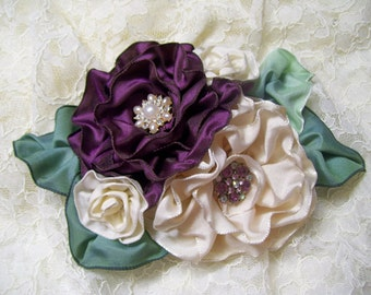 Ribbon Work Corsage Fascinator Hat Easter Corsage, Millinery, Mother's Day Pin, PLum and CReam