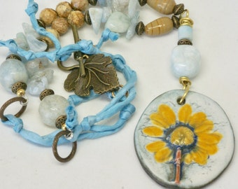 Yellow Floral Pendant, Floral Jewelry, Handmade Ceramic Focal, Art Jewelry, Earthy Statement Necklace, Pale Blue Necklace, Summer Gift