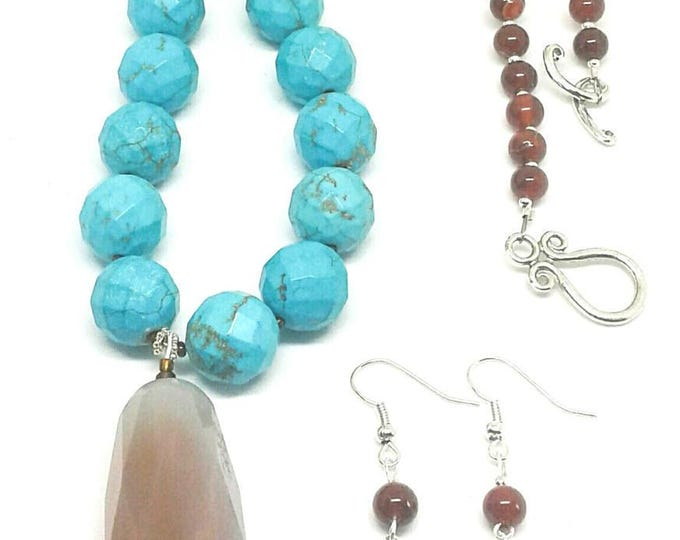 201719 Just See Me! TURQUOISE, AGATE , CARNELIAN , 24 In. long, Custom made jewelry, Handcrafted Jewelry, Handmade Jewelry, Unique Jewelry