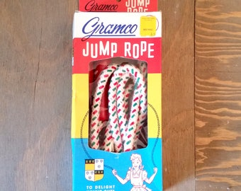 Vintage Gramco Braided Cotton Jump Rope with Red Painted Wood Handles in Original Box 1960's