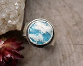 Plume Agate Ring. Cloudy Blue White Stone Ring.  Sterling Silver Wide Band Ring. One of a Kind. Size 8