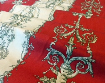 Vintage Cherub Fabric Kaufmann Red and Ivory Toile - 3+ Yards