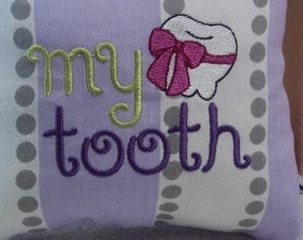 1017 Embroidered Tooth Fairy Pillow on Purple, Grey and White Stripe