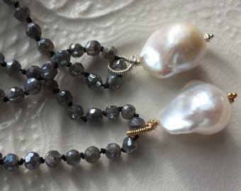 Baroque Pearl Pendant Hand knotted silk necklace Labradorite and Baroque Pearl Necklace