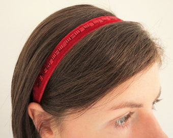 Red Velvet Headband, Bridesmaid Headband, Beaded Red Ribbon Hairband, Womens Elasticated Headband, Retro Style Headband, Narrow Headband