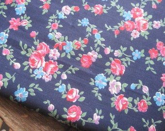 Pretty French Cotton Floral Fabric - Navy Background, Patchwork, Quilting, 1970s Flowers, Shabby Chic Fabric, Fairy Dress, Dolls Clothes