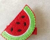 Girls Felt Watermelon Hair Clippie, Toddlers Hair Clip, Red & Green Sparkle Watermelon Hair Clip, Girls Hair Bows, Fruit Clip, Watermelon