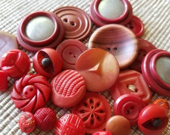Vintage Buttons - Cottage chic mix of reds and lot of 25 old and sweet( may 58 17)