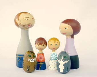 Custom Family of 6 Portrait Dolls children, pets FREE SHIPPING - Personalized - Wooden hand painted father mother dog cat special gift