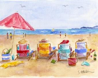 Four Beach Amigos- fine art print beach watercolor