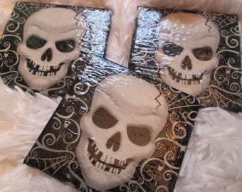 Skull Tile Coaster Set (3) non slip Gothic Fun Unique Bones Head Corpse Dark Side Beer Wine Glass Mug Coffee