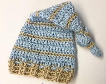Newborn boy knot hat.. photography prop... ready to ship.. blue and tan knot hat... newborn boy hat