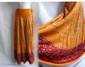 Vintage Skirt Free size Orange Sequin 70s India Ethnic Tribal Hippie Boho Cotton