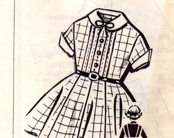 1950s Mail Order 8245 FF Vintage Sewing Pattern Girl's Shirtwaist Dress Size 8