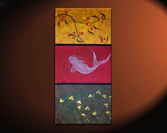 Zen Koi Fish Painting Chinese Red Green Yellow Wall Art Style Original Art Zen Home Decor Japanese Artwork Custom 15x30