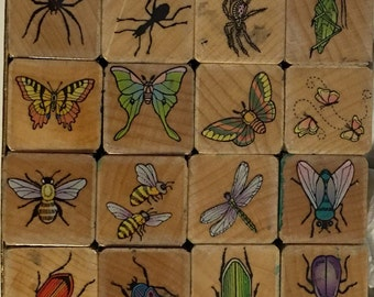 Hero Arts Set of 16 Wood Mounted Rubber Stamps Insects