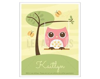 120P Owl Print - Personalized Pink Owl in Swing Wall Art - Custom Baby Girl Nursery Art - Personalized Baby Girl Art - Custom Name Wall Art