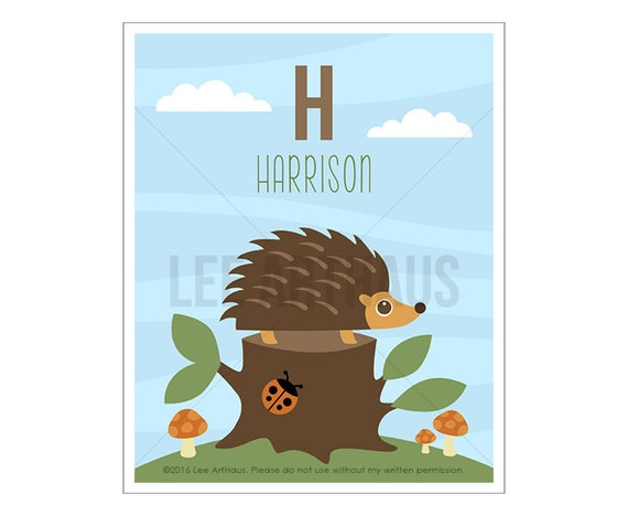 138P Boy Nursery Decor - Personalized Letter H Hedgehog and Ladybug Tree Log Wall Art - Baby Boy Woodland Nursery Decor - Hedgehog Print