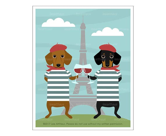 283D Dog Prints - Two Dachshund Dogs Drinking Wine Wall Art - Eiffel Tower Print - Cheers Print - Toasting Wine Glasses - Dachshund Print