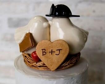 Firefighter and Teacher Love Bird Cake Topper in Ivory