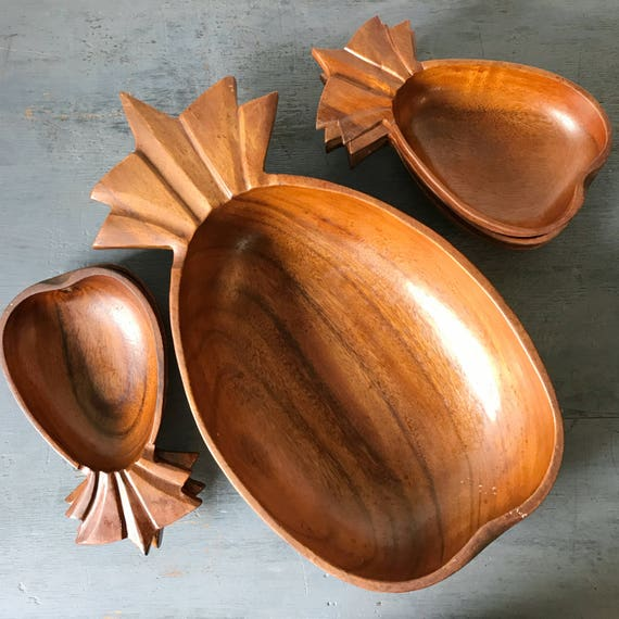 vintage wooden bowls - pineapple salad bowl set - mid century serving dishes - tiki tropical - 7 piece set