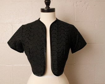 Vintage 1950's Black Eyelet Bolero Short Sleeve Cropped Waist Jacket S