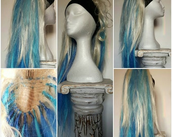 Massive blue and blonde hair extension. Simply clip over a pony tail for an instant look change!