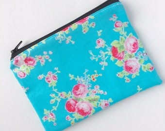 Zippered Snack Bag - Kids Snack Bag - Lunch Pouch - Turquoise Rose Snack Sack - Lunch Bag