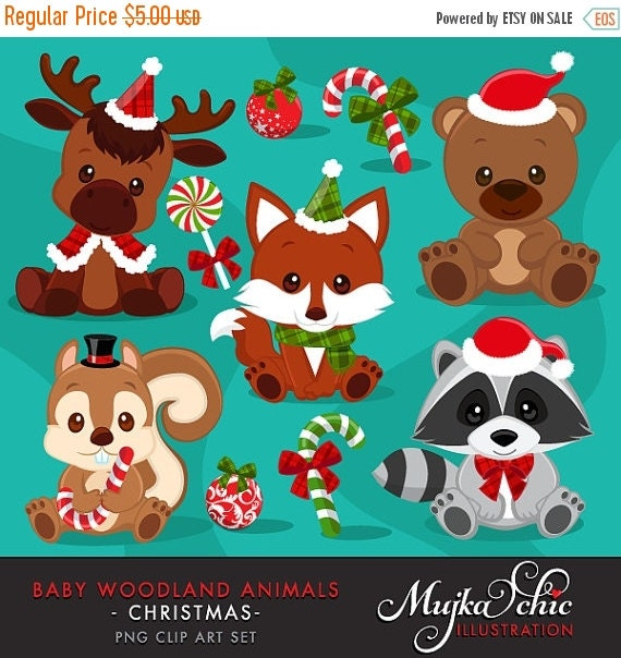 Christmas Baby Woodland Animals Clipart Baby Fox Baby By