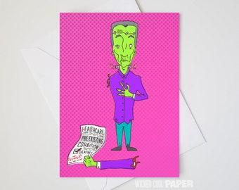 Francis Frankenstein Greeting Card - Halloween Card - Get Well Soon Card - Hollywood Monsters
