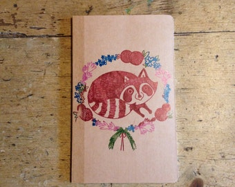 Floral Racoon A6 blank notebook