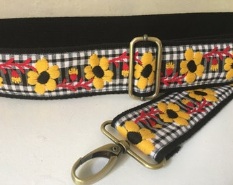 Bag Strap, Adjustable Guitar Strap Style - Yellow Flower Gingham Trim, 2 inch wide