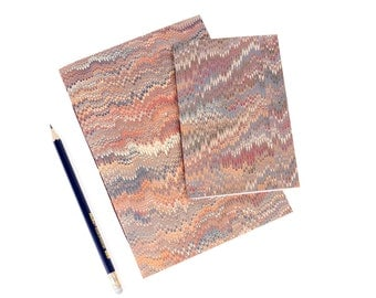 Vintage Marbled Notebooks: Terracotta Non Pareil pattern with Mohawk Superfine. Traditional, heritage craft journal, jotter. Ships worldwide