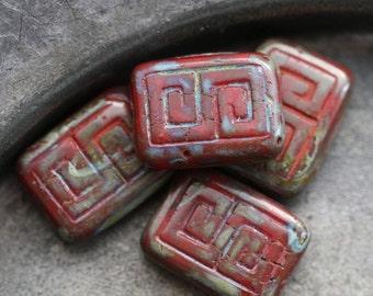RED KEYS .. 4 Premium Picasso Czech Glass Rectangle Beads 9x13mm (5474-4)