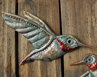 Hummingbird - copper metal flying songbird art sculpture - wall hanging - with turquoise blue and iridescent red-orange patinas - OOAK