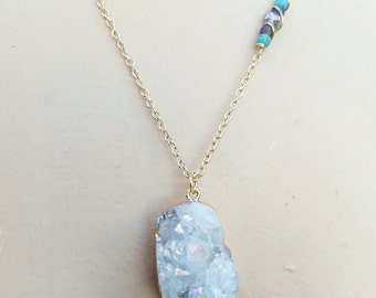 Quartz Crystal Druzy Necklace Aura Borealis Glass Beaded Necklace Gold Nickel Free Brass Crystal Necklace Turquoise READY TO SHIP