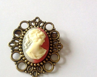 ON SALE Raspberry Cream Cameo Brooch Pin Romantic Antique Brass Regency Rococo Victorian Marie Antoinette EGL Woman