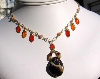 Rockaflame-Australian, Fire Opal, Carnelian Necklace