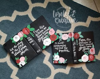 Custom painted bible cover hand lettering, hand painted, ESV or NIV journaling bible or I paint your bible
