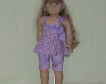 American Girl 18 inch Doll Pants, Top, Bag, and Head Band Purples
