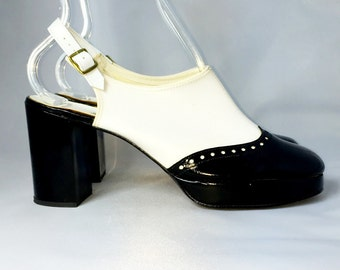 Vintage 70s Platform Spectator Patent Pumps | New Stock | Never Been Worn | Size 6.5