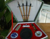 Vintage Master Chinese Calligraphy Set Unused Green Fan Shape Presentation Box / Unique Writing Set / Art Gift Set