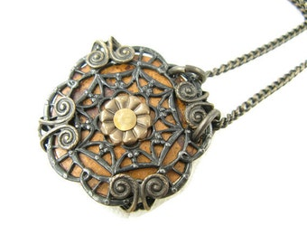 SALE Mixed Metals Medallion Necklace, Copper Brass and Arte Metal Necklace