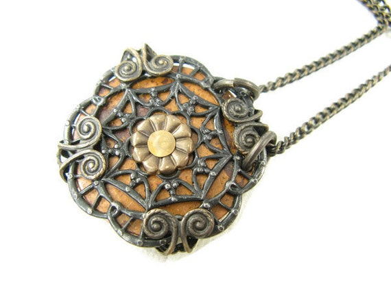 Mixed Metals Medallion Necklace, Copper Brass and Arte Metal Necklace