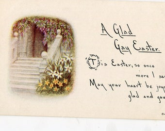 Easter Greetings  Vintage  Postcard  A Glad Gay Easter,  Landscape and flowers