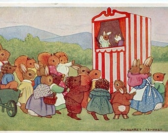 Tempest vintage postcard - The Punch and Judy Show, Artist Margaret Tempest,  Dressed animals, Pk 111, Medici Society,  puppet show